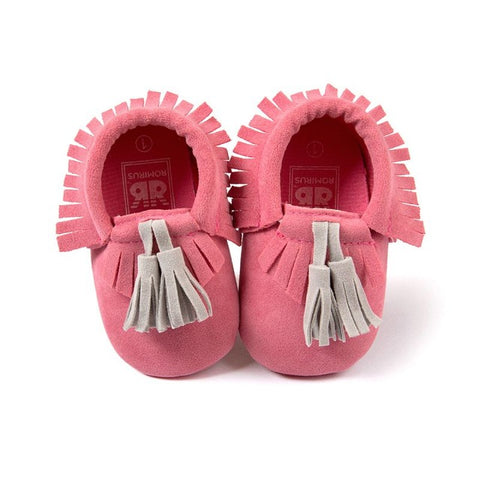 Lizzie Tassel + Fringe Soft Sole Suede Crib Shoes - Various Colors