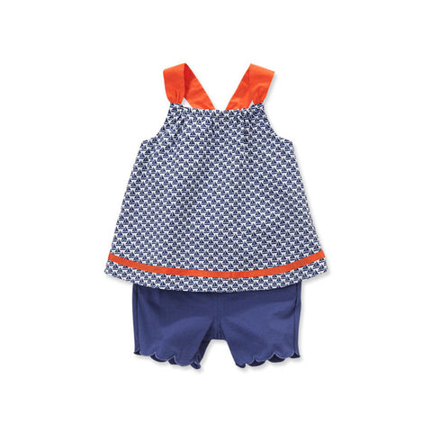Adelynn Navy Sailboat 2-piece Summer Outfit