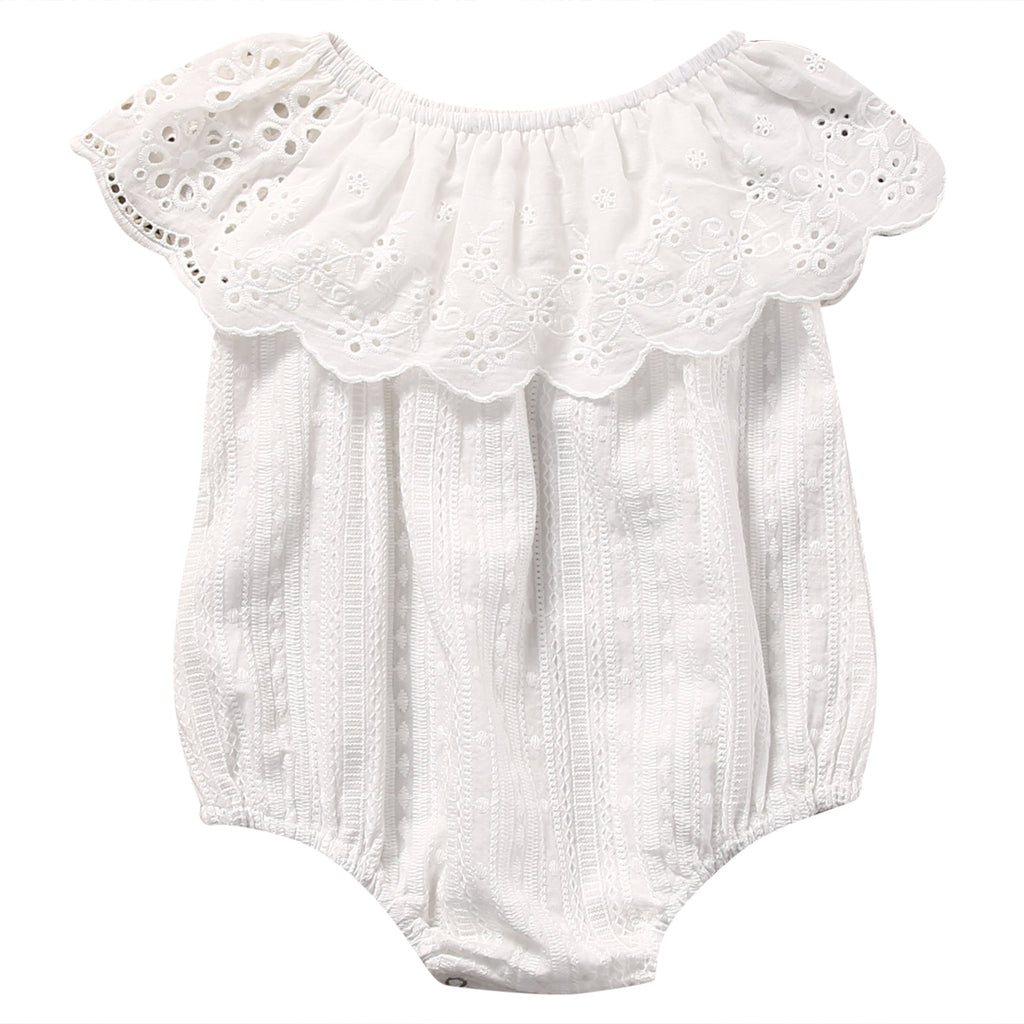 5eed276d496 Viviana White Eyelet Scalloped Collar Summer Romper – TWO FAWNS