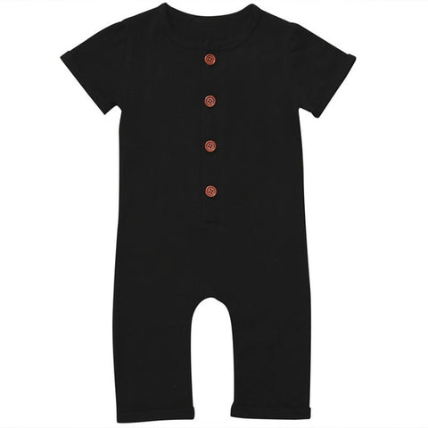Jason Short Sleeve Romper - Black