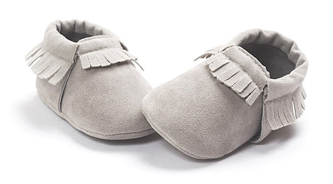 Elijah Suede Fringe Soft Sole Crib Shoes - Grey