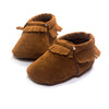 Image of Elijah Suede Fringe Soft Sole Crib Shoes - Brown