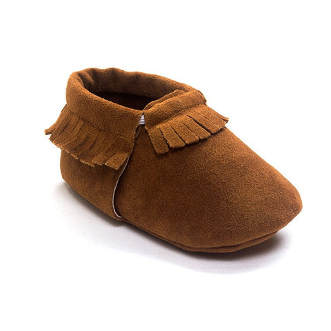 Elijah Suede Fringe Soft Sole Crib Shoes - Brown