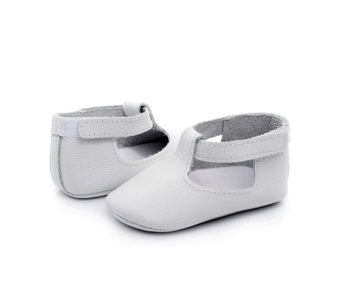 Lacie Genuine Leather T-Strap Soft Sole Shoes - Various Colors