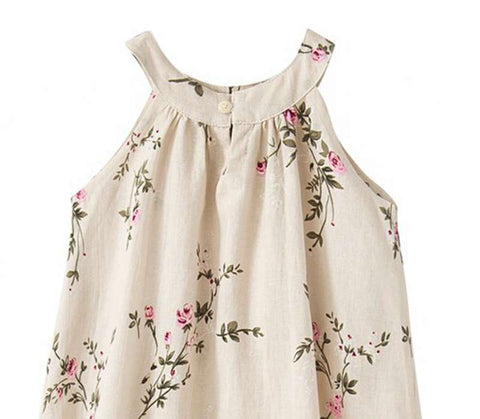 Tessa Cream + Roses Sleeveless Summer Shift Dress