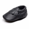 Image of Edward Genuine Leather Fringe Rubber Sole Walkers - Black