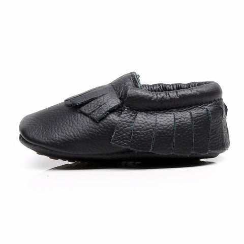 Edward Genuine Leather Fringe Rubber Sole Walkers - Black