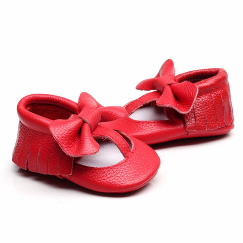 Courtney Genuine Leather Bow + Fringe Rubber Sole Walkers - Various Colors