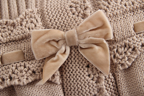 Ashley Lace + Velvet Bow Sweater - Cream