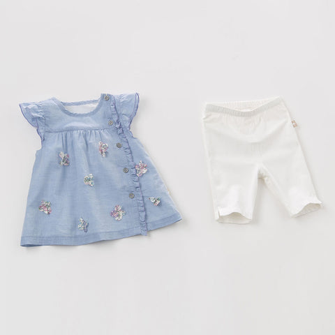 Delilah 2-piece Sky Blue + Flower Summer Outfit
