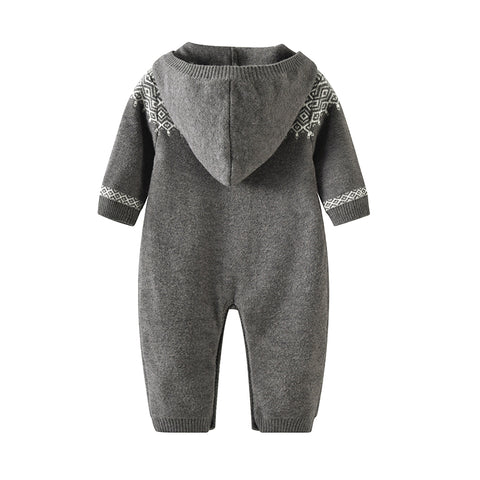 Benjamin Grey Hooded Sweater Romper