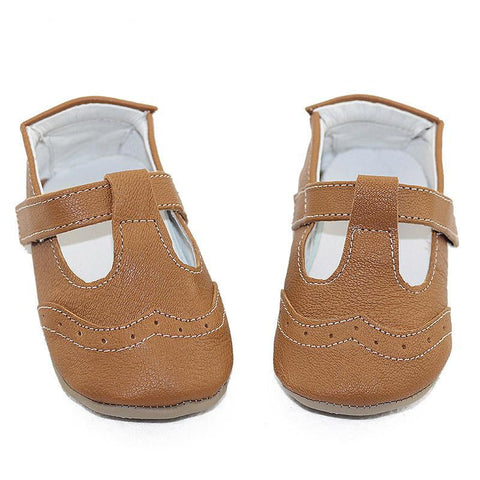 Amber Genuine Leather Stitched T-Strap Rubber Sole Walkers - Various Colors