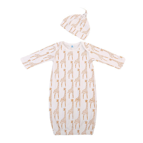 Giraffe Long Sleeve Sleep Gown + Hat
