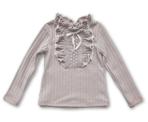 Kelli Ruffles + Bow Long Sleeve Top - Grey
