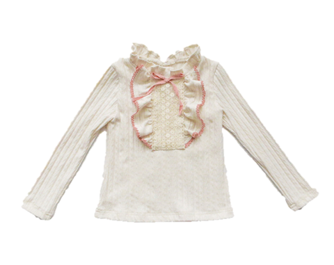 Kelli Ruffles + Bow Long Sleeve Top - Cream