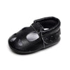 Image of Jessica Teardrop + Scallop Genuine Leather Soft Sole Shoes - Black