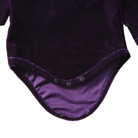 Kelsey Velvet Back Bow Long Sleeve Romper - Purple