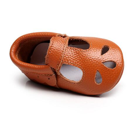 Jessica Teardrop + Scallop Genuine Leather Soft Sole Shoes - Rust