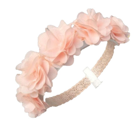Malynn Pink Chiffon Flower Wreath Head Band
