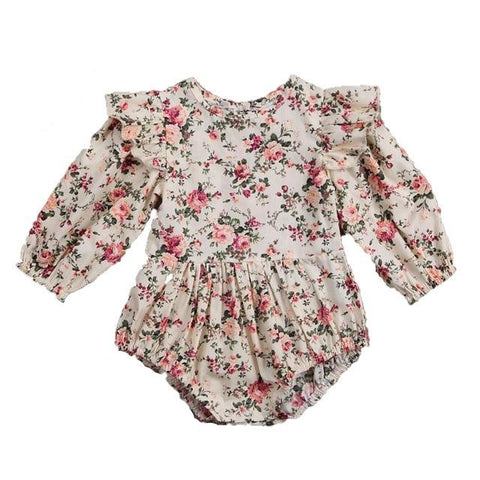 Madeline Vintage Rose Long Sleeve Romper