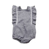 Image of Margo Grey Linen Ruffle Romper