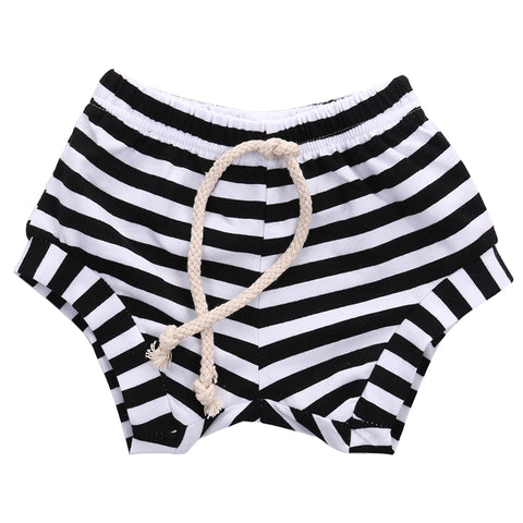 Isaac Striped Cotton Diaper Covers - Black + White