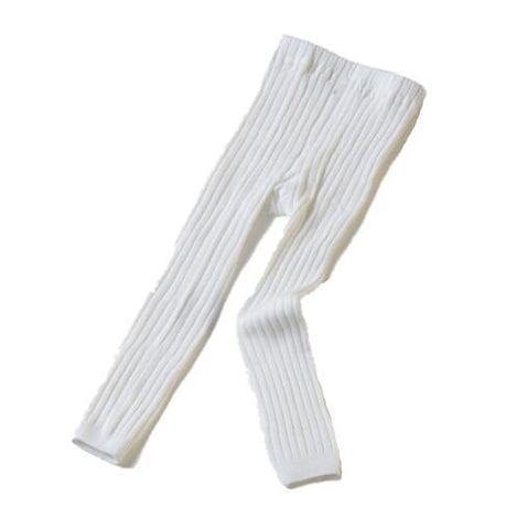 Averly Ribbed Winter Leggings - White