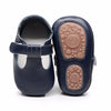 Image of Finley Genuine Leather T-Bar Rubber Sole Walkers - Navy