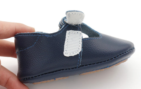 Finley Genuine Leather T-Bar Rubber Sole Walkers - Navy