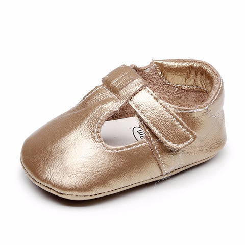Finley Genuine Leather T-Bar Rubber Sole Walkers - Gold