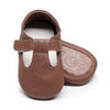 Image of Finley Genuine Leather T-Bar Rubber Sole Walkers - Brown