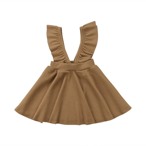 Addilyn Brown Ribbed + Ruffles Sleeveless Dress