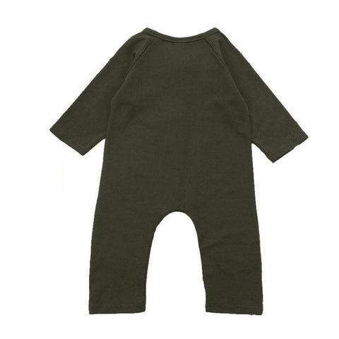 Charles Olive Green Long Sleeve Romper