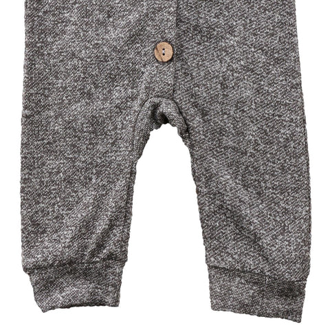 Sebastian Heathered Grey Long Sleeve Hooded Romper