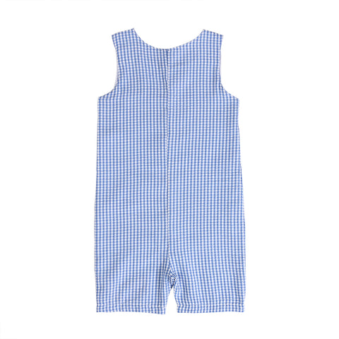 Gabriel Blue + White Plaid Seersucker Romper