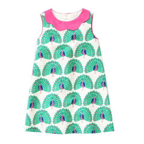 Peyton Aqua Peacocks Sleeveless Summer Dress