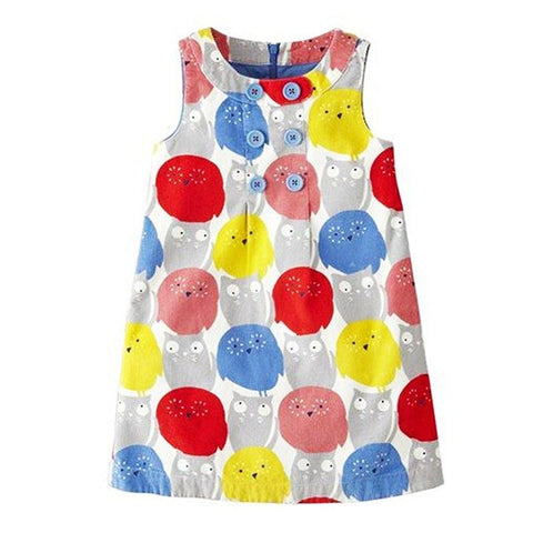 Suzy Colorful Owls Sleeveless Summer Dress