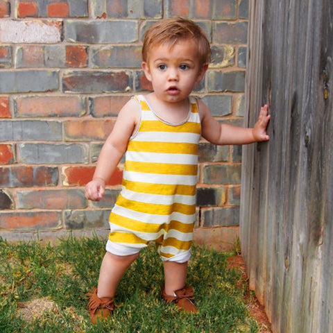 Michael Yellow + White Romper