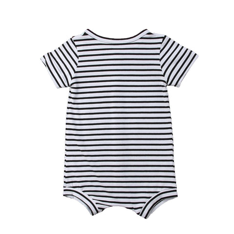 Liam Black + White Stripe Short Sleeve Romper