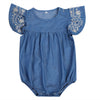 Image of Clarissa Embroidered Sleeve Denim Summer Romper