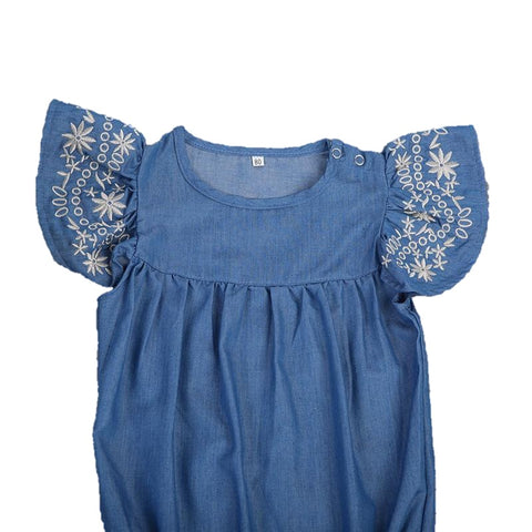 Chloe Embroidered Sleeve Denim Summer Romper