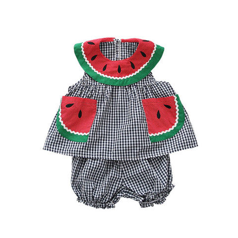 Brandi Black + White Plaid Watermelon 2 piece Summer Outfit
