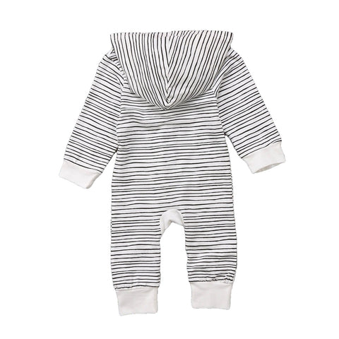 Nicholas Black + White Stripe Long Hoodie Romper
