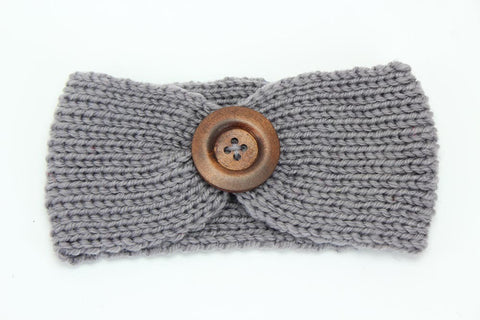 Miranda Button Crochet Headband - Grey