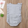 Image of Mackenzie Sleeveless Ruffle Romper - Grey
