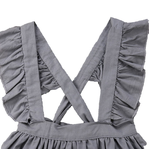Shiloh Silver Grey Ruffled Overalls Dress