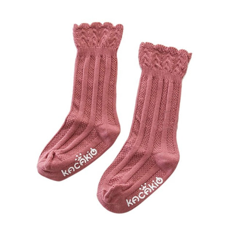 Tawny Scallop Top Mid-Calf Socks - Dusty Rose