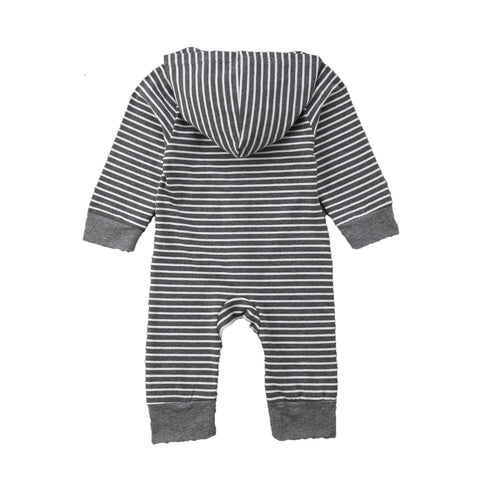 Cole Grey + White Stripe Long Sleeve Hoodie Romper
