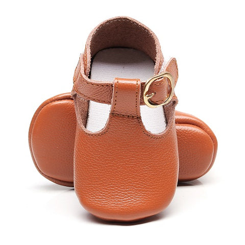 Harper Genuine Leather T-Bar Mary Jane Soft Sole Shoes - Rust