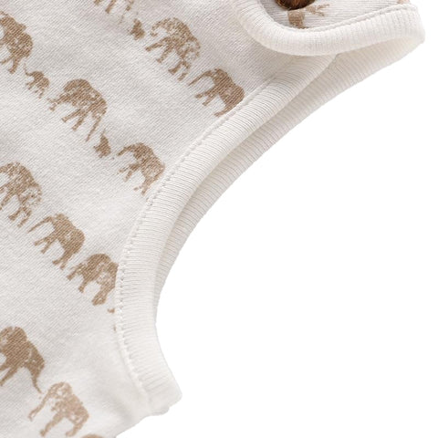 Alex White + Khaki Elephant Sleeveless Romper